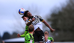 Devante Rodney of Port Vale wins the highball- Mandatory by-line: Nizaam Jones/JMP - 16/01/2021 - FOOTBALL - innocent New Lawn Stadium - Nailsworth, England - Forest Green Rovers v Port Vale - Sky Bet League Two