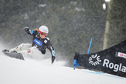 Claudia Riegler (AUT) competes during Qualification Run of Women's Parallel Giant Slalom at FIS Snowboard World Cup Rogla 2016, on January 23, 2016 in Course Jasa, Rogla, Slovenia. Photo by Ziga Zupan / Sportida
