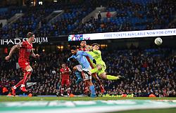 Sergio Aguero of Manchester City scores to make it 2-1  - Mandatory by-line: Matt McNulty/JMP - 09/01/2018 - FOOTBALL - Etihad Stadium - Manchester, England - Manchester City v Bristol City - Carabao Cup Semi-Final First Leg