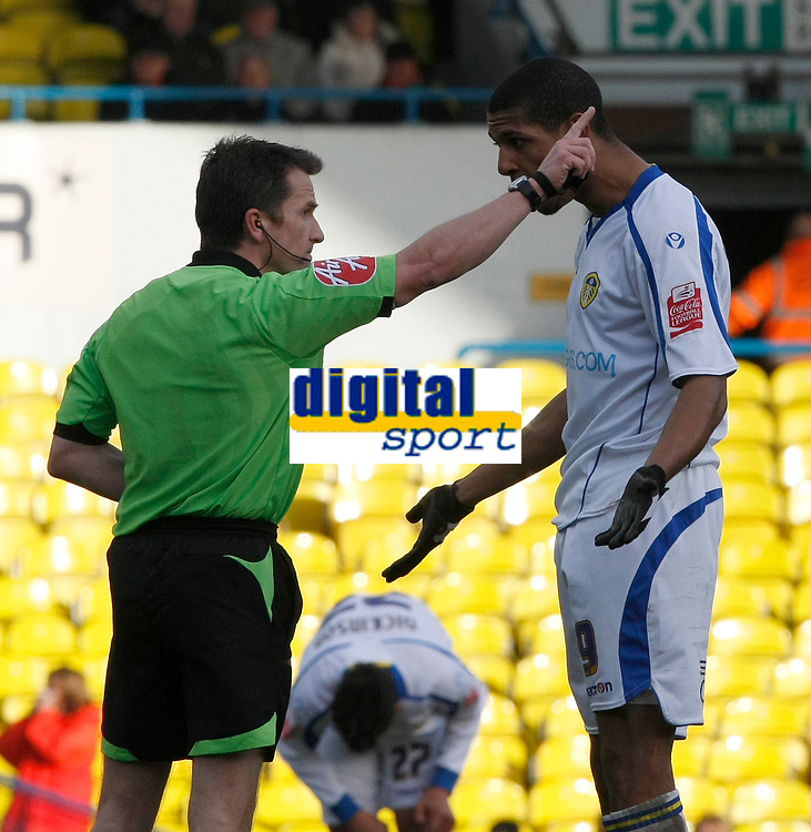 Photo: Steve Bond/Richard Lane Photography. Leeds United v Swindon Town. Coca Cola League One. 14/03/2009. Jermaine Beckford (R) protests his sending off with ref Keith Stroud