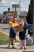 About 100 people participated in the Milton Pride Rally. The I Am Alliance organized the event after an area grocery store posted an anti-mask sign which blamed the LGBTQ community for spreading COVID-19.