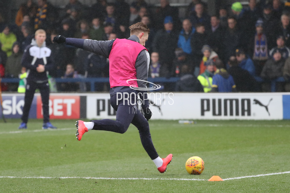 AFC Wimbledon striker Joe Pigott (39) warming up during the EFL Sky Bet League 1 match between AFC Wimbledon and Blackpool at the Cherry Red Records Stadium, Kingston, England on 20 January 2018. Photo by Matthew Redman.