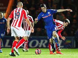Rochdale's Peter Vincenti and Stoke City's Bojan Krkic - Photo mandatory by-line: Matt McNulty/JMP - Mobile: 07966 386802 - 26/01/2015 - SPORT - Football - Rochdale - Spotland Stadium - Rochdale v Stoke City - FA Cup Fourth Round