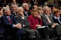 09 APR 2005 OBERHAUSEN/GERMANY:<br /> Roland Koch, CDU, Ministerpraesident Hessen, Edmund Stoiber, CSU, Ministerpraesident Bayern, Angela Merkel, CDU Bundesvorsitzende, Juergen Ruettgers, CDU, Landesvorsitzender und Spitzenkandidat der CDU NRW, und seine Ehefrau Angelika Ruettgers, (v.L.n.R.), Wahlkampfauftaktveranstaltung zur Landtagswahl in Nordrhein-Westfalen, Koenig-Pilsener-Arena<br /> IMAGE: 20050409-01-024<br /> KEYWORDS: Jürgen Rüttgers