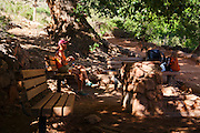 Hikers at Indian Garden, Bright Angel Trail, Grand Canyon National Park, Arizona.  (model released)