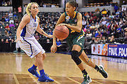 April 4, 2016; Indianapolis, Ind.; Adriana Dent drives past her defender in the NCAA Division II Women's Basketball National Championship game at Bankers Life Fieldhouse between UAA and Lubbock Christian. The Seawolves lost to the Lady Chaps 78-73.