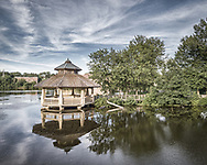 Elevated view of the gazebo at the north end of Batavia's Riverwalk.