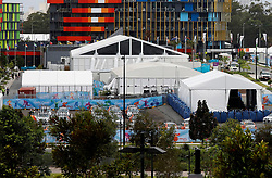 EXCLUSIVE: Heightened anti-terror security measures are seen at Commonwealth Games athletes' village. The entire village is surrounded by over 3000 bollards, to keep athletes and staff safe. 30 Mar 2018 Pictured: Commonwealth Games Village at Southport on the Gold Coast. Photo credit: MEGA TheMegaAgency.com +1 888 505 6342