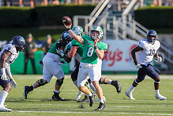 Oct 9, 2021; Huntington, West Virginia, USA; Marshall Thundering Herd quarterback Grant Wells (8) throws a touchdown pass to Marshall Thundering Herd wide receiver Willie Johnson (1) late in the fourth quarter to tie the game with Old Dominion Monarchs at Joan C. Edwards Stadium. Mandatory Credit: Ben Queen-USA TODAY Sports