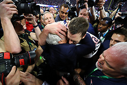 New England Patriots quarterback Tom Brady (12) hugs Patriots owner Robert Kraft after a 13-3 win against the Los Angeles Rams in Super Bowl LIII at Mercedes-Benz Stadium in Atlanta on Sunday, February 3, 2019. Photo by Curtis Compton/Atlanta Journal-Constitution/TNS/ABACAPRESS.COM