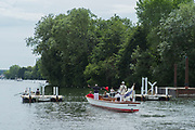 """Henley on Thames, United Kingdom, 23rd June 2018, Saturday,   """"Henley Women's Regatta"""",  view, Crews and the umpires launch, ready for the start of the Women's single sculls heat, Henley Reach, River Thames, England, © Peter SPURRIER"""