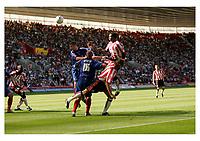 Photo: Jake Eastham.<br /> Southampton v Crewe. Coca Cola Championship.<br /> 27/08/2005.Richard Fuller heads a shot at goal.