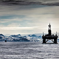 The Leiv Eiriksson exploratory oil rig   off the coast of Greenland