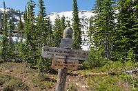 Trail sign on Lostine River Trail Eagle Cap Wilderness Oregon