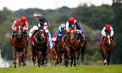 Jamih, (far left) ridden by Nicky Mackay on the way to winning The Randox Health British Ebf Maiden Stakes during Randox Health Gentlemen's Day at Sandown Park Racecourse, Esher.