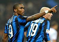 Fotball<br /> Italia<br /> Foto: Insidefoto/Digitalsport<br /> NORWAY ONLY<br /> <br /> L'esultanza di Sanuel Eto'o (Inter) per il gol del 3-0<br /> Inter player Samuel Eto'o celebrates his 3-0 leading goal<br /> <br /> Inter v Bologna<br /> 15.01.2011
