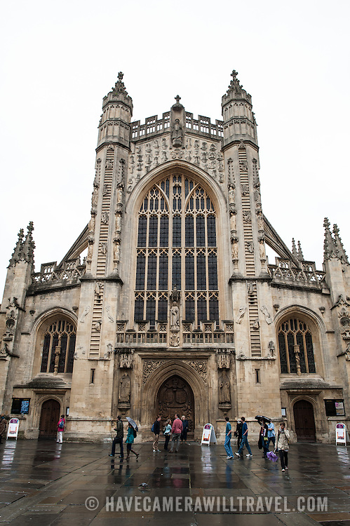 The 150-foot tall main tower on the West Front of Bath Abbey. Bath Abbey (formally the Abbey Church of Saint Peter and Saint Paul) is an Anglican cathedral in Bath, Somerset, England. It was founded in the 7th century and rebuilt in the 12th and 16th centuries.
