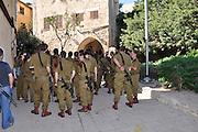 Old City of Jaffa, Israeli soldiers on tour Tel Aviv, Israel