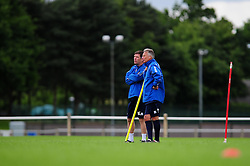 Bristol Rovers Manager, John Ward talks with Bristol Rovers assistant manager, Darrell Clarke - Photo mandatory by-line: Dougie Allward/JMP - Tel: Mobile: 07966 386802 24/06/2013 - SPORT - FOOTBALL - Bristol -  Bristol Rovers - Pre Season Training - Npower League Two