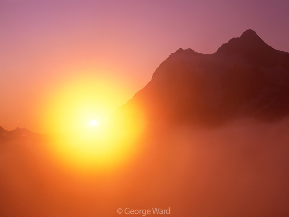 Rising Sun, Fog and Mount Shuksan, Mount Baker Wilderness, Mt. Baker-Snoqualmie Nat'l. Forest, WA
