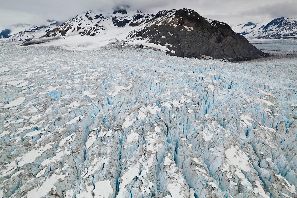 View over the main branch of Columbia Glacier, Alaska.