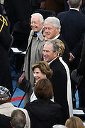 Former Presidents George W. Bush, Bill Clinton and Jimmy Carter during the Presidential Inaugural ceremony on Capitol Hill January 20, 2017 in Washington, DC. Donald Trump was sworn-in as the 45th President.