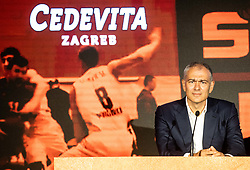 Emil Tedeschi, president of KK Cedevita during press conference of KK Petrol Olimpija (SLO) and KK Cedevita Zagreb (CRO) when announces cooperation or join of both clubs , into KK Cedevita Olimpija Ljubljana, on June 4th, 2019, in Arena Stozice, Ljubljana, Slovenia.Photo by Vid Ponikvar / Sportida