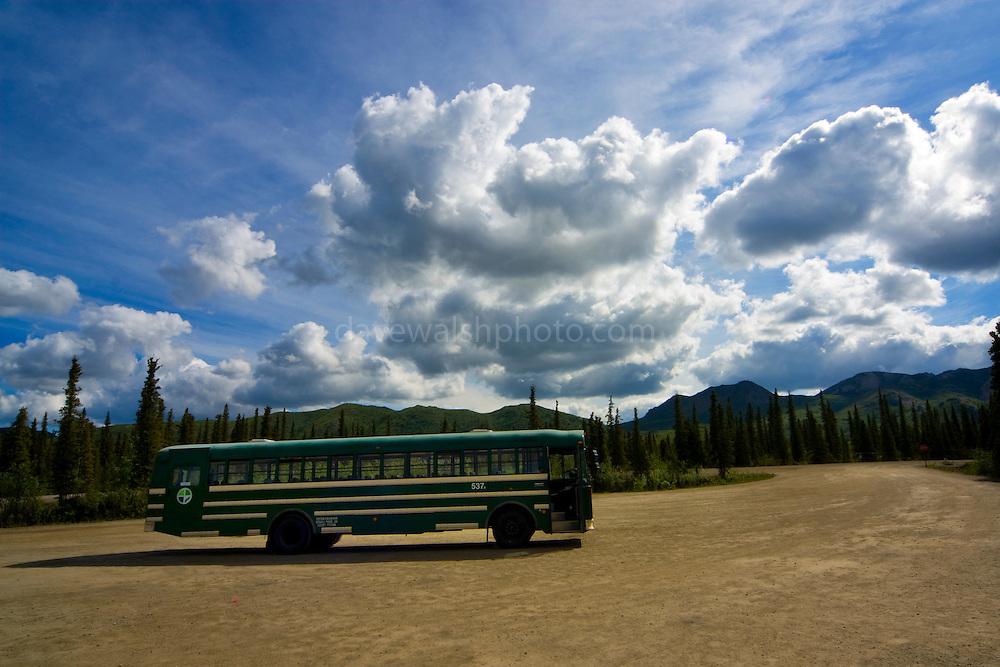 Shuttle bus at Teklanika River, Denali National Park, Alaska..