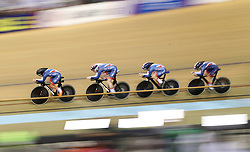 Great Britain cyclists during the Team Purusit Women's heat four race during day two of the 2018 European Championships at the Sir Chris Hoy Velodrome, Glasgow.