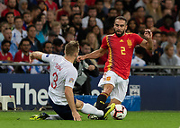 Football - 2018 / 2019 UEFA Nations League A - Group Four: England vs. Spain<br /> <br /> Luke Shaw (England) slides into the tackles with Dani Carvajal (Spain) at Wembley Stadium.<br /> <br /> COLORSPORT/DANIEL BEARHAM