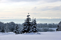 Winter in Airdrie and Coatbridge, with snow-covered trees on Airdrie golf course looking to Glasgow and the west