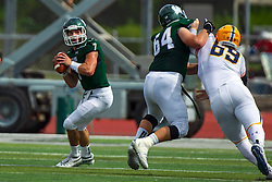 BLOOMINGTON, IL - September 28:  Jacob Finfer holds off Matt Payton so Brandon Bauer can make a pass during a college football game between the IWU Titans and the Augustana Vikings on September 28 2019 at Wilder Field in Tucci Stadium in Bloomington, IL. (Photo by Alan Look)