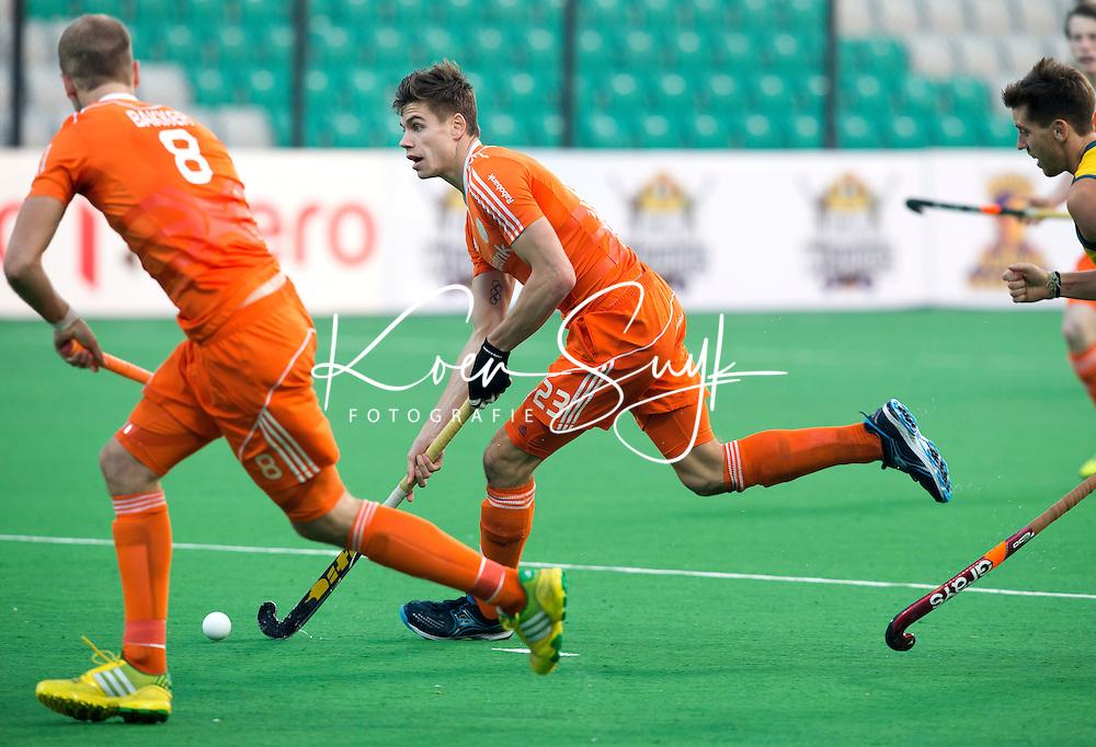 NEW DELHI - Sander de Wijn tijdens de tweede poulewedstrijd in de finaleronde van de Hockey World League tussen de mannen van Nederland en Australie (1-0) . ANP KOEN SUYK