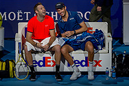 Jack Sock of the USA and Mike Bryan of the USA smiling and sharing a joke during the Nitto ATP Tour Finals at the O2 Arena, London, United Kingdom on 18 November 2018. Photo by Martin Cole
