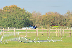 © Licensed to London News Pictures 25/10/2018<br /> Fawkham,UK.<br /> Police search team parked at the top of Scratchers Lane.<br /> Scratchers Lane remains closed and will stay closed today while Kent police investigate.<br /> The search continues today for missing mother of five from New Ash Green Sarah Wellgreen.<br /> Photo credit: Grant Falvey/LNP