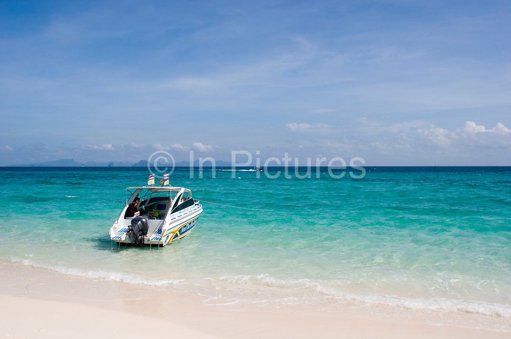The blue Andaman Sea as seen from Bamboo Island, near to Phi Phi. The white sand in this are makes for a feeling of paradise.