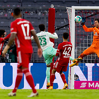 21.11.2020, Allianz Arena, Muenchen, GER,  FC Bayern Muenchen SV Werder Bremen <br /> <br /> <br />  im Bild Tor zum 1-1 durch Kingsley Coman (FCB #29) mit Jiri Pavlenka (SV Werder Bremen #1) Jerome Boateng (FCB #17) Theodor Gebre Selassie (SV Werder Bremen #23) Jamal Musiala (FCB #42) <br /> <br /> <br /> <br /> Foto © nordphoto / Straubmeier / Pool/ <br /> <br /> DFL regulations prohibit any use of photographs as image sequences and / or quasi-video.