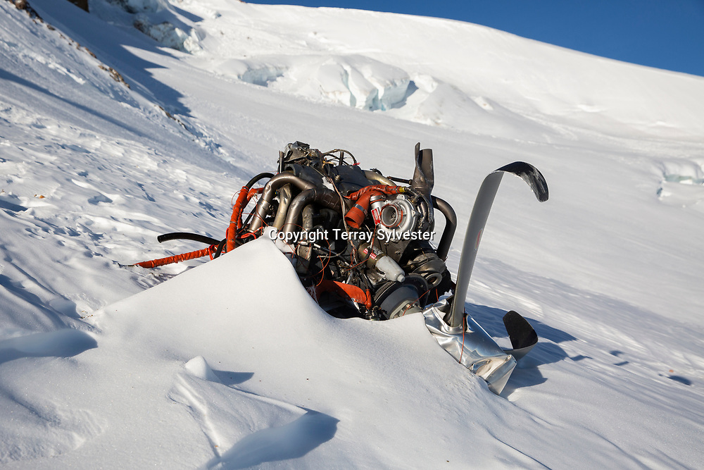Debris from a plane crash lies in the snow on the Eliot Glacier on Thursday, January 31, 2019, on Mount Hood, Oregon. The pilot, George Regis, 63, died in the crash while reportedly flying from his home in Battleground, Washington, to Arizona.