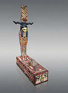Ancient Egyptian wooden statue of Ptah Sokar Osiris, Ptolemaic Period(332-30 BC), Asyut. Egyptian Museum, Turin. Cat 9481. Grey background. .<br /> <br /> If you prefer to buy from our ALAMY PHOTO LIBRARY  Collection visit : https://www.alamy.com/portfolio/paul-williams-funkystock/ancient-egyptian-art-artefacts.html  . Type -   Turin   - into the LOWER SEARCH WITHIN GALLERY box. Refine search by adding background colour, subject etc<br /> <br /> Visit our ANCIENT WORLD PHOTO COLLECTIONS for more photos to download or buy as wall art prints https://funkystock.photoshelter.com/gallery-collection/Ancient-World-Art-Antiquities-Historic-Sites-Pictures-Images-of/C00006u26yqSkDOM