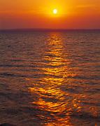 Sunrise over Melville Sound of Georgian Bay of Lake Huron, view from Cape Dundas, Bruce Peninsula, Ontario, Canada.