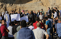 October 13, 2017 - Gaza City, Gaza Strip, Palestinian Territory - Palestinians attend a rally against the demolition of the Tel Es-Sakan hill, south of Gaza City, on October 13, 2017. Palestinian and French archaeologists began excavating Gaza's earliest archaeological site nearly 20 years ago unearthing what they believe is a rare 4,500-year-old Bronze Age settlement  (Credit Image: © Mohammed Asad/APA Images via ZUMA Wire)
