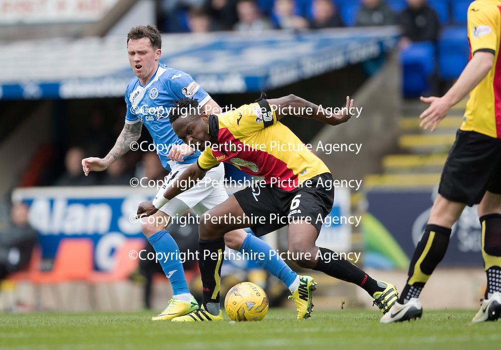 St Johnstone v Partick Thistle…29.10.16..  McDiarmid Park   SPFL<br />Abdul Osman tackles Danny Swanson<br />Picture by Graeme Hart.<br />Copyright Perthshire Picture Agency<br />Tel: 01738 623350  Mobile: 07990 594431