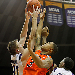 January 17, 2012; Baton Rouge, LA; Auburn Tigers guard Chris Denson (3), LSU Tigers center Justin Hamilton (41) and guard Ralston Turner (22) battle for a rebound during the second half of a game at the Pete Maravich Assembly Center. LSU defeated Auburn 65-58 in overtime. Mandatory Credit: Derick E. Hingle-US PRESSWIRE