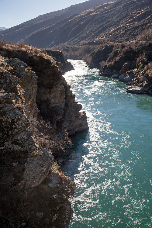 View down the Kawarau Gorge between Queenstown and Cromwell, Central Otago, South Island New Zealand