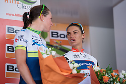 Second and third place finishers, Annemiek van Vleuten and Ashleigh Moolman Pasio chat on stage at Boels Hills Classic 2016. A 131km road race from Sittard to Berg en Terblijt, Netherlands on 27th May 2016.