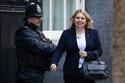© Licensed to London News Pictures. 29/10/2018. London, UK. Secretary of State for Northern Ireland Karen Bradley arriving in Downing Street for a cabinet meeting, ahead of the Chancellor of the Exchequer Philip Hammond's autumn budget statement this afternoon. Photo credit : Tom Nicholson/LNP