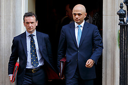 © Licensed to London News Pictures. 05/04/2016. London, UK. Welsh Secretary ALUN CAIRNS and Business Secretary SAJID JAVID attending a meeting to discuss potential buyers of Tata Steel plants with Prime Minister David Cameron in Downing Street on Tuesday, 5 April 2016. Photo credit: Tolga Akmen/LNP