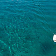 A small rowboat floats on a clear blue ocean.