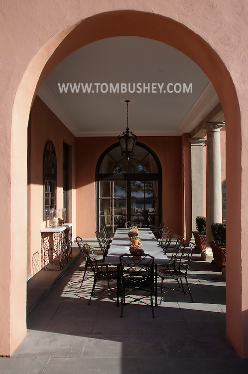 An outdoor dining area at Glenmere Mansion in Chester on Thursday, Dec. 17, 2009.