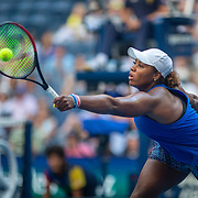 2019 US Open Tennis Tournament- Day Four.  Taylor Townsend of the United States in action at the net against Simona Halep of Romania in the Women's Singles Round Two match on Arthur Ashe Stadium at the 2019 US Open Tennis Tournament at the USTA Billie Jean King National Tennis Center on August 29th, 2019 in Flushing, Queens, New York City.  (Photo by Tim Clayton/Corbis via Getty Images)